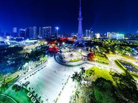 佛山禅城市中心夜景-佛山电视塔