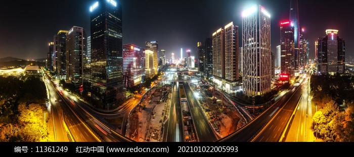 深圳市中心深蓝大道繁华夜景图片