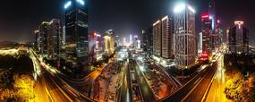 深圳市中心深蓝大道繁华夜景