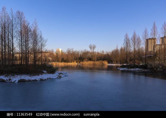朝陽下的攬翠湖風光圖片