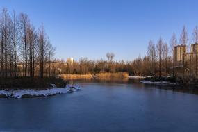 朝陽下的攬翠湖風光