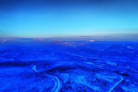 航拍林海雪原树林雾凇