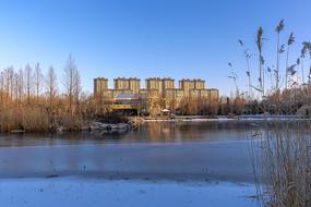 藍天下的攬翠湖冬景