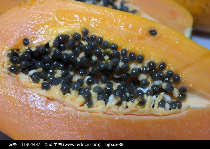 黑色木瓜籽特写图片