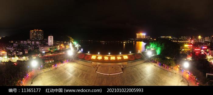 宽屏阳春市东湖公园过年亮灯航拍图片