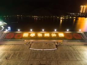 阳春市东湖公园夜景航拍图