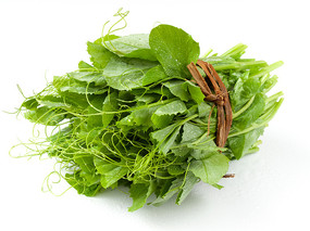 一把绿色的豌豆尖