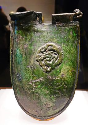綠釉貼盤龍菊花流云紋雙孔雞冠壺