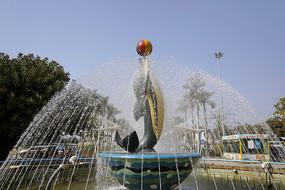 深圳野生动物园喷泉海豚雕塑