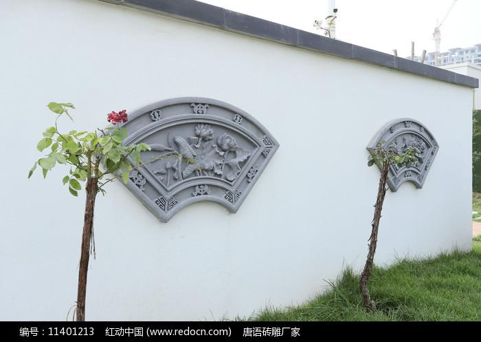 藝術扇形磚雕圖片