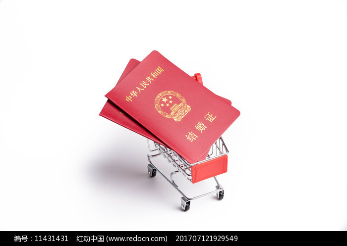 买卖婚姻概念图-结婚证在购物车上图片