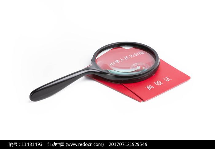离婚证和放大镜图片