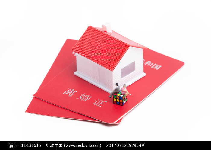 离婚证上有房子和两个人偶模型图片