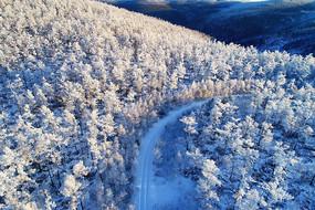 大兴安岭冬季原始森林雪路