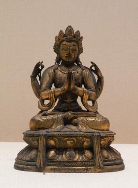 民国藏族四臂观音铜像