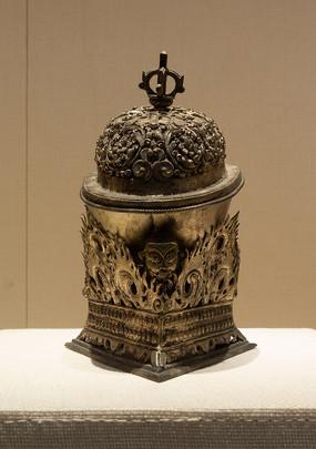 民国藏族银质头骨盏