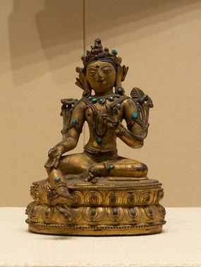 清代藏族莲花手观音铜像