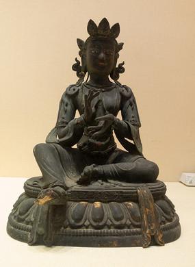 清代藏族绿度母铜像