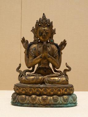 清代藏族四臂观音铜像
