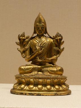 清代藏族宗喀巴大师铜像