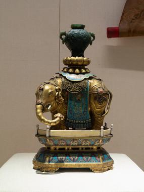 民国藏族金银器景泰蓝象烛台