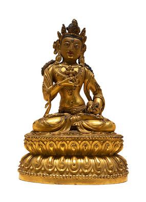 明代藏族金刚萨埵铜像白背景