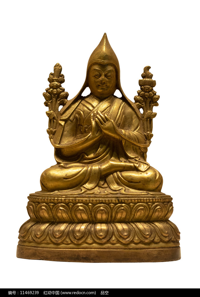 民国藏族宗喀巴大师铜像白背景图片