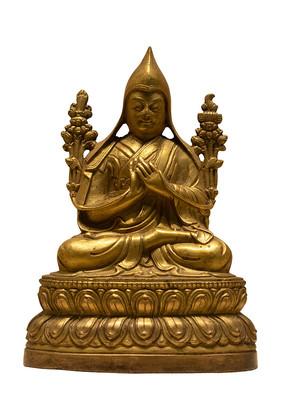 民国藏族宗喀巴大师铜像白背景