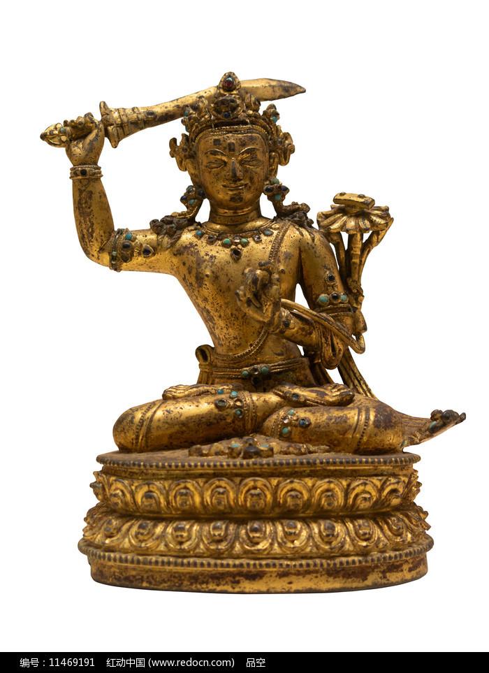 清代藏族文殊菩萨铜像白背景图片