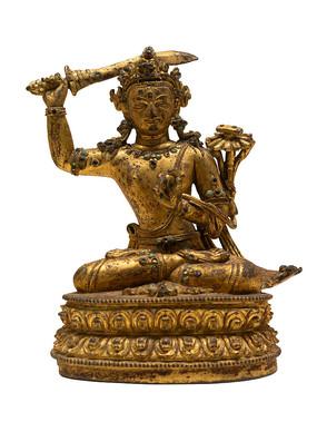 清代藏族文殊菩萨铜像白背景