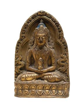 清代藏族无量寿佛铜像白背景
