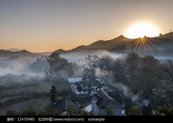 徽州山村日出图片图片