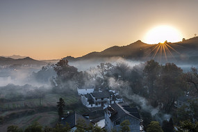 徽州山村日出图片