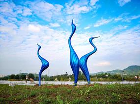 蓝色鸟景观雕塑