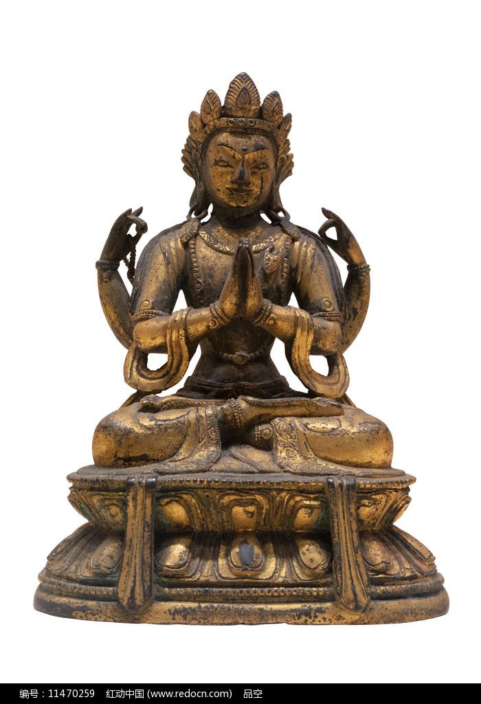 民国藏族四臂观音铜像白背景图片