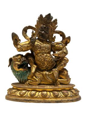 清代藏族财宝天王铜像白背景