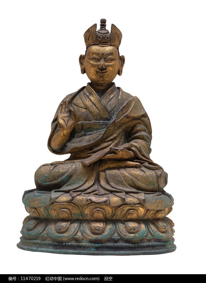 清代藏族第七世噶玛巴确札嘉措铜像图片
