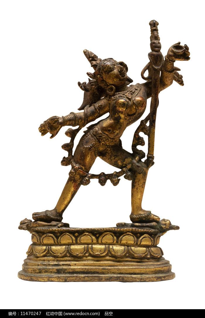 清代藏族那若空行母铜像白背景图片