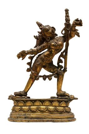 清代藏族那若空行母铜像白背景