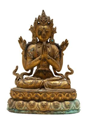 清代藏族四臂观音铜像白背景