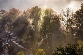 秋风疏影山村美图片
