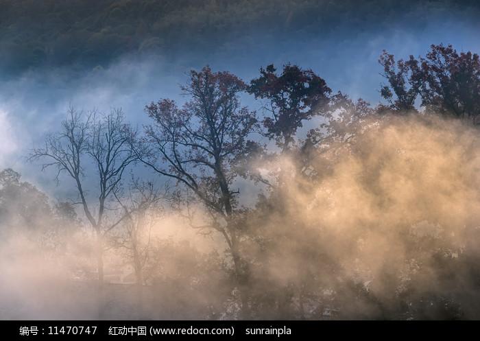 山乡晨韵摄影图图片