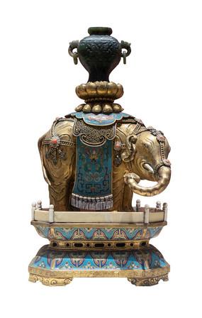 民国藏族景泰蓝象烛台白背景