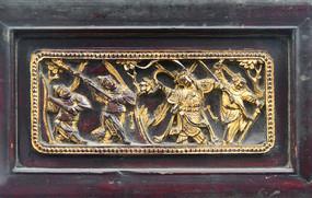 老成都家具戏曲人物金漆木雕