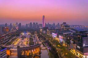泉城广场日落美图