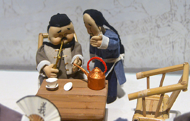 老成都茶馆哥老会袍哥的茶碗阵布偶