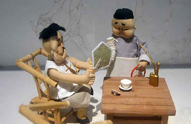 蔑巴扇茶客和茶博士布偶