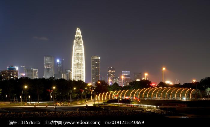夜晚灯光深圳湾建筑图片