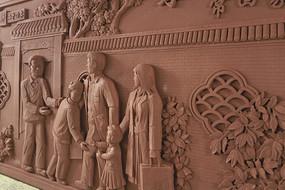 新二十四孝之带着妻小常回家砖雕
