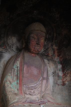 甘肃天水麦积山石窟彩绘佛龛
